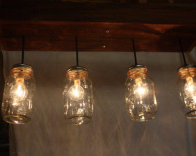 Mason jar lights with reclaimed wood and 5 pendants. r 1434 cmj 5