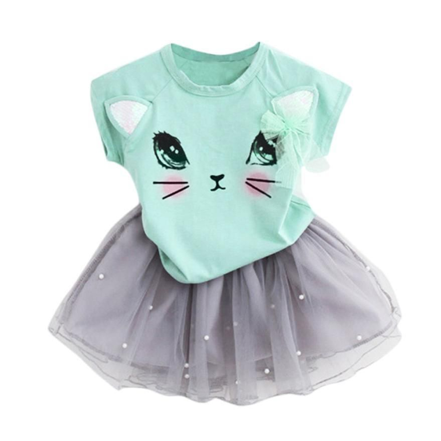 db629f269 Kitten T-Shirt and Net Veil Skirt 2-Piece Outfit ♥ 3 Color Choices ...