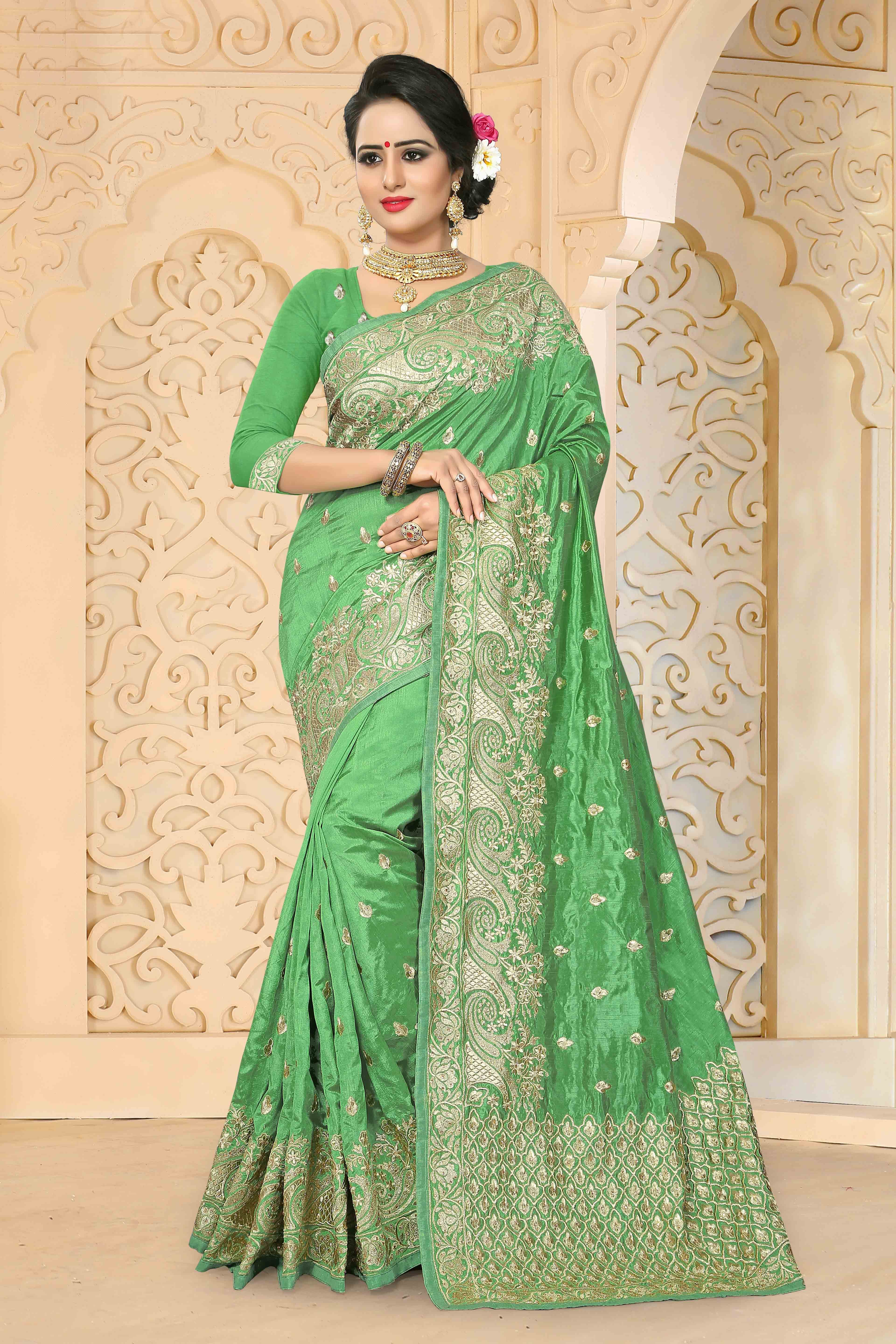 02328381327cbb Buy online Pista colour Designer Embroidery work Zoya Art Silk Saree  saree