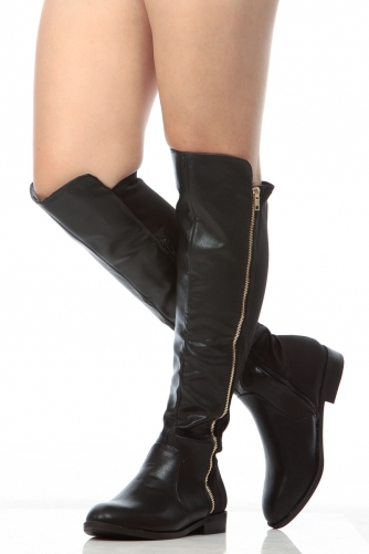aabbc2a1171 Black Faux Leather Knee High Zipper Accent Riding Boots   Cicihot Boots  Catalog women s winter boots