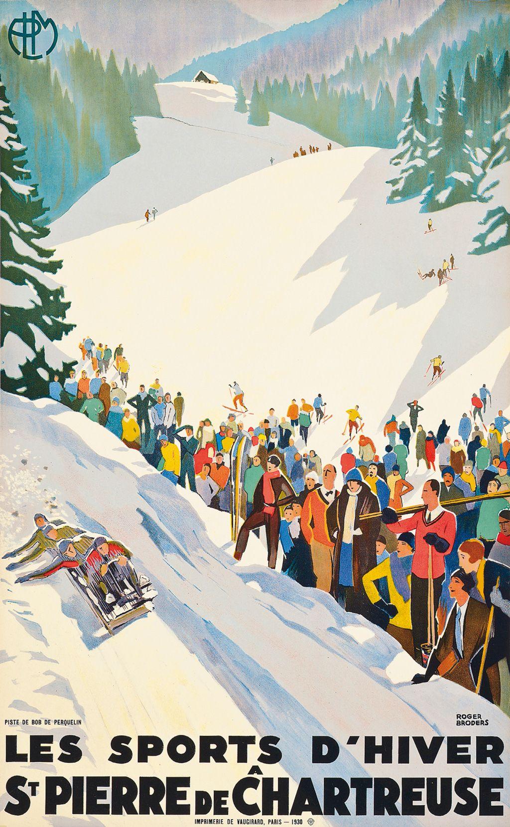 Retro Poster Ski Vintage A St Pierre De Chartreuse Isere