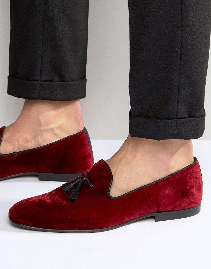 ASOS Tassel Loafers In Burgundy Velvet  Red ShoesMen's