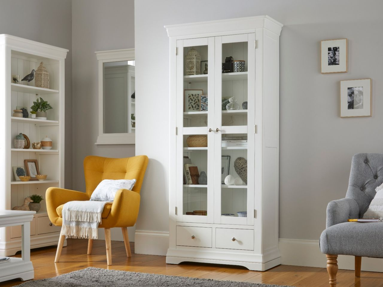 Toulouse White Painted Tall Glass Display Cabinet with ...
