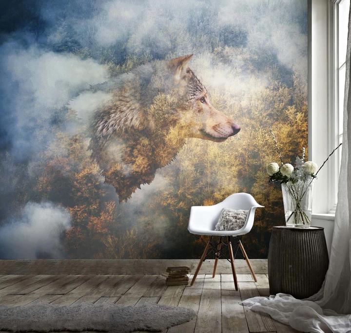 3D Grassland Wolf Fog Forest Wall Mural Wallpaper 15