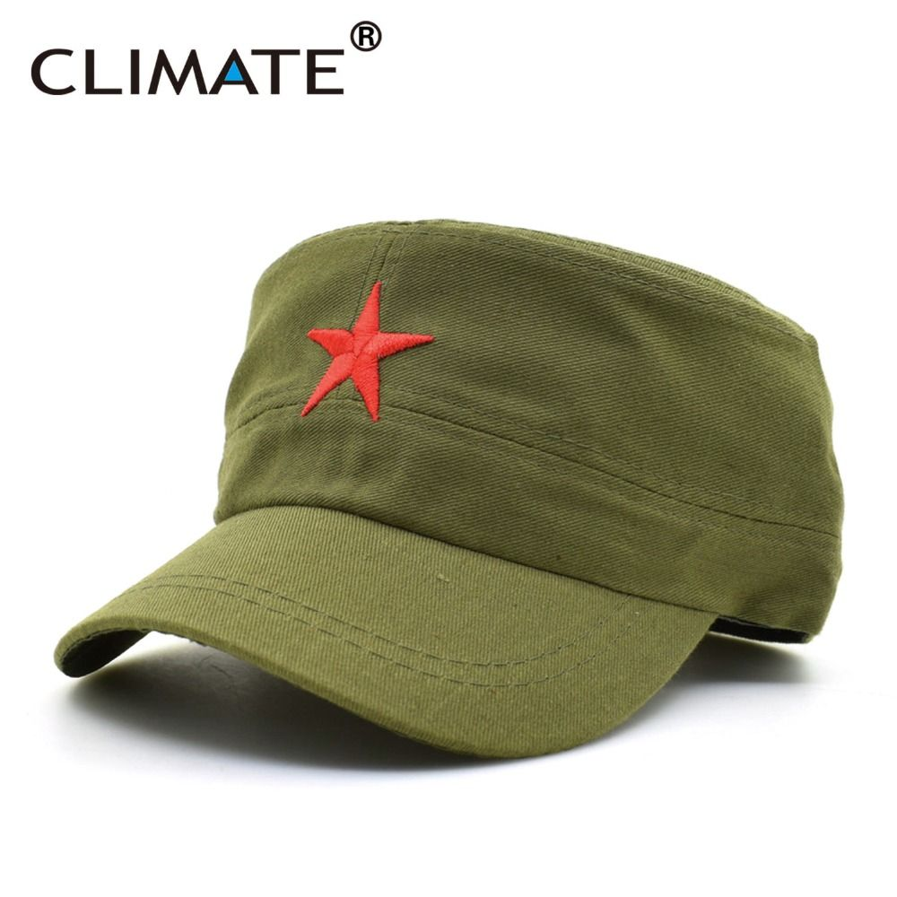 Climate 2017 New Solid Red Star Army Cool Flat Top Caps China Communist Party Men International Brigades Army Flat Top Hat Hats For Men Military Hat Mens Caps