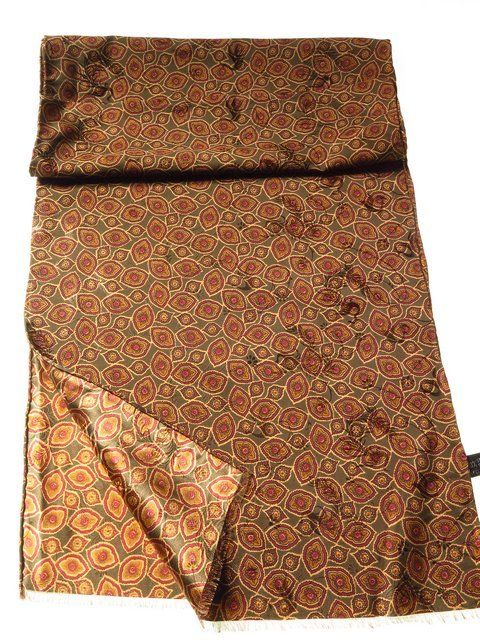 c3b7485609e74 Mens 100% silk scarf green brown gold - Tweedmans Vintage