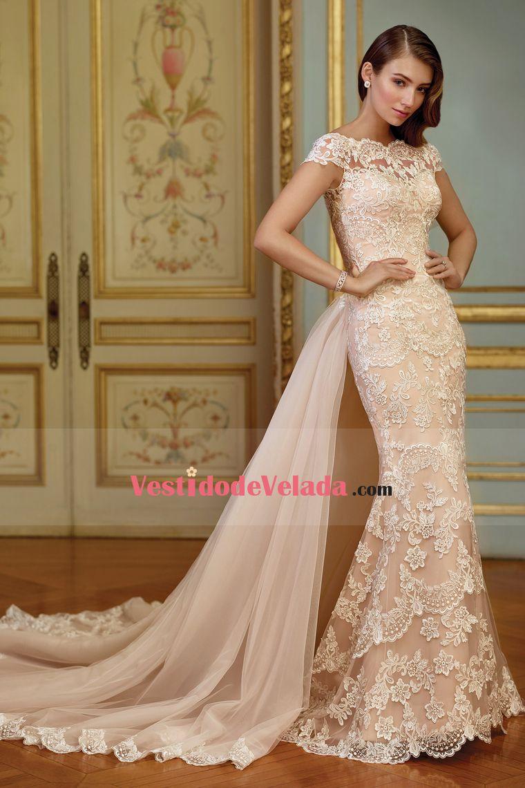 2017 Bateau sirena vestidos de novia con Applique corte tren ...