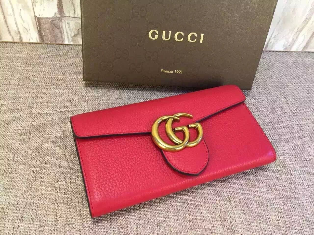 Gucci 400586 gg marmont continental wallet red 2015