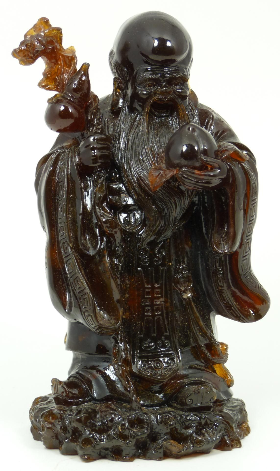 ANTIQUE CHINESE CARVED AMBER SHOU XING FIGURE