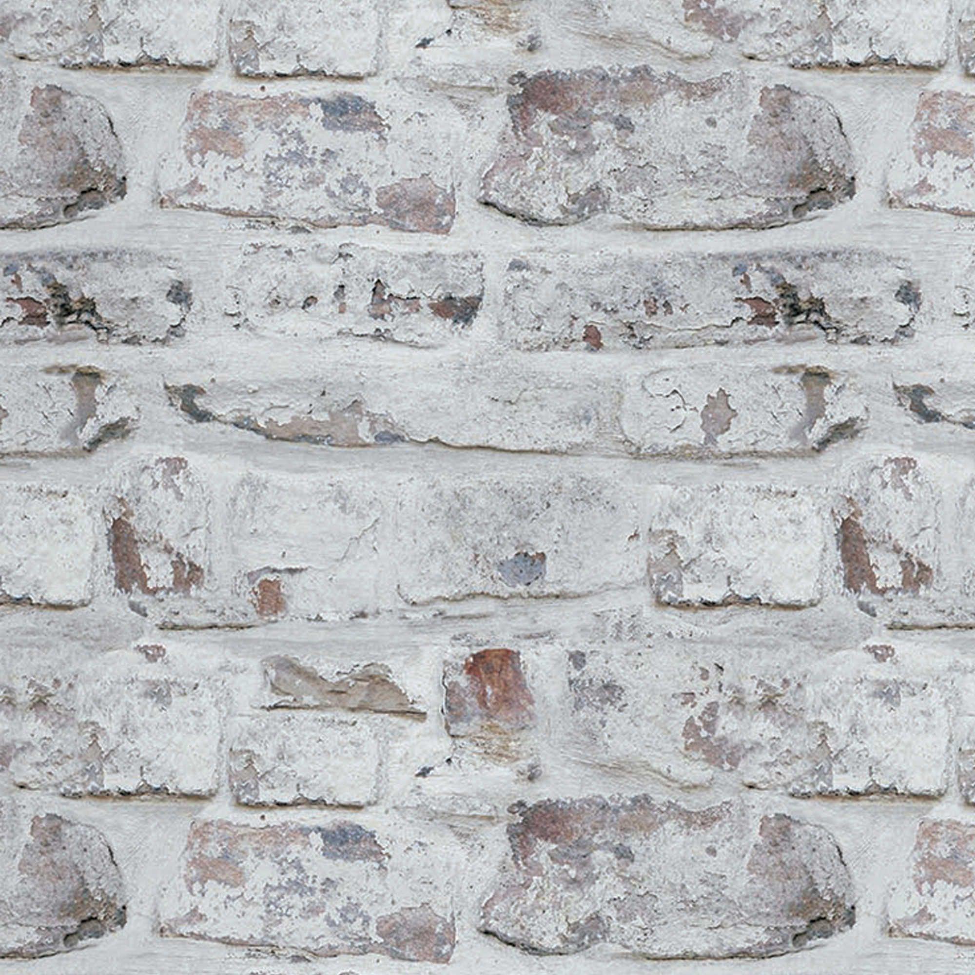 v.i.p whitewashed brick wallpaper in white | kitchens | pinterest
