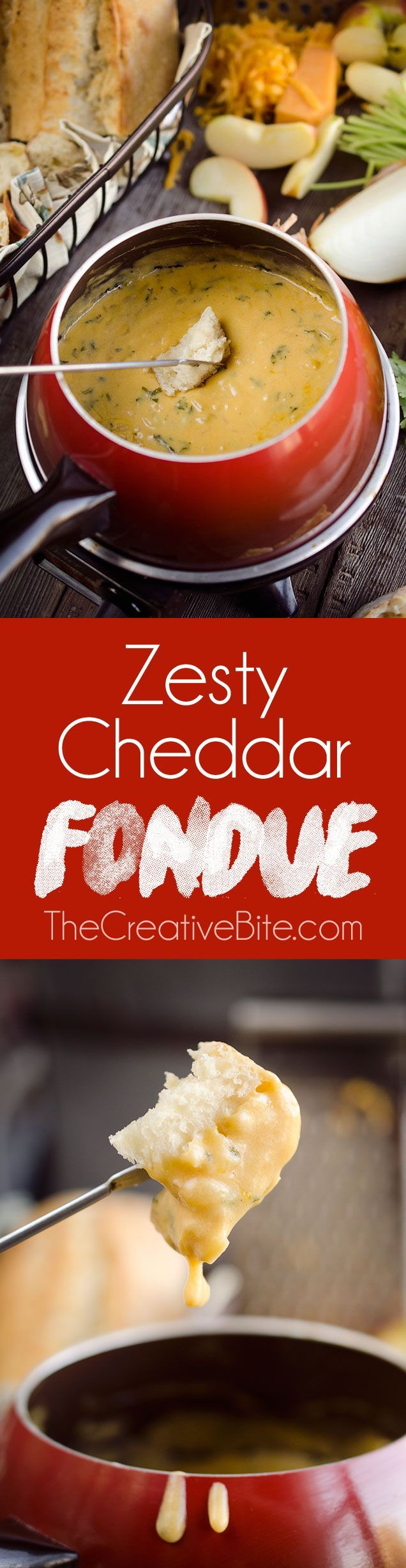 Zesty Cheddar Fondue is an easy and delicious appetizer perfect for the holidays. It is a creamy cheese fondue filled with rich sharp cheddar, onions, garlic and cilantro that pairs perfectly with bread and apples. #Fondue #Cheese #Appetizer #Holidays #fonduecheese