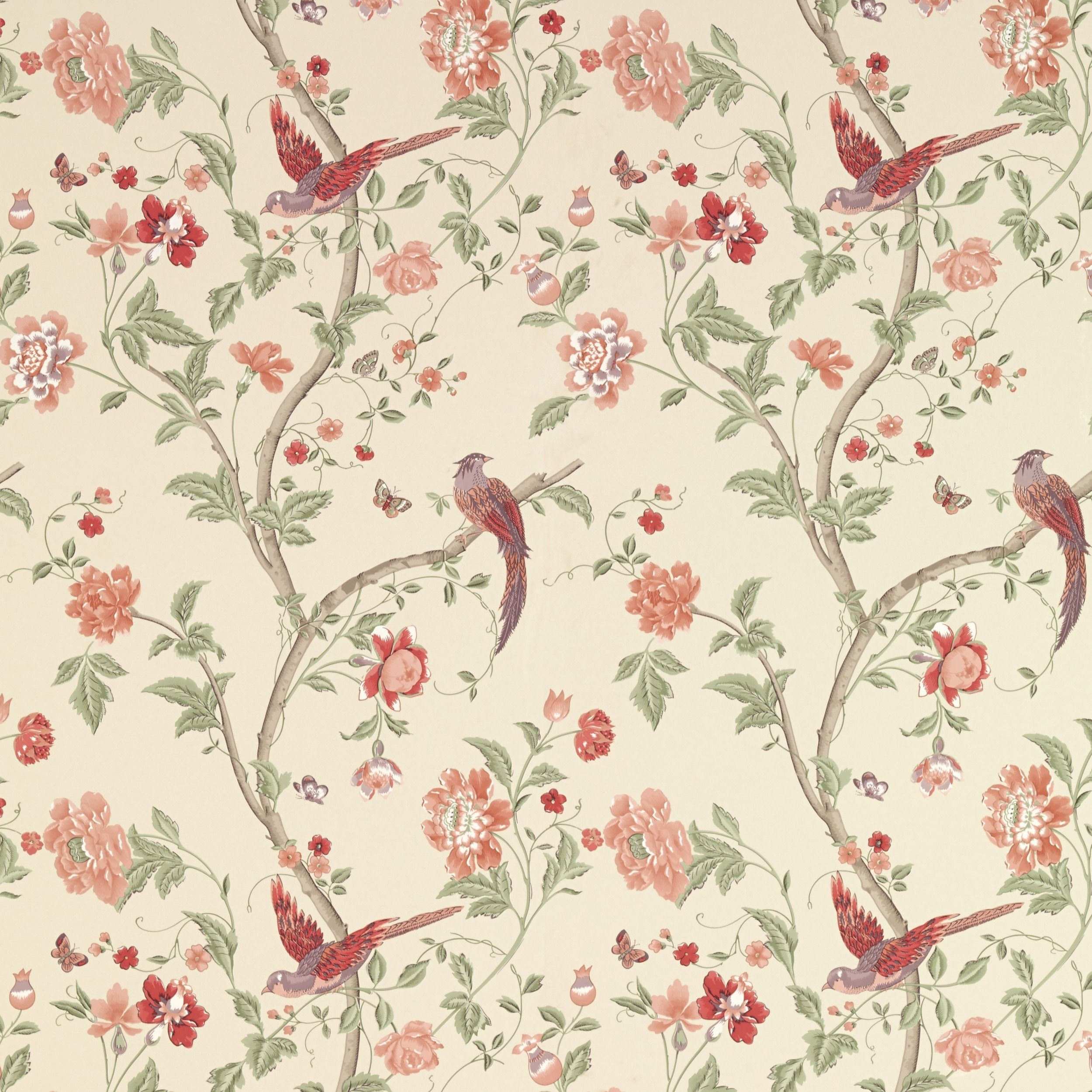 Laura Ashley summer palace cranberry wallpaper. Going on