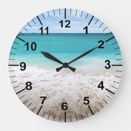Large Ocean And Beach Theme Wall Clock | Zazzle.com