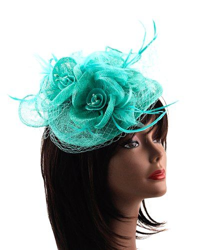 MG Fascinator Hat Feather Mesh Gauze Cocktail Headwear