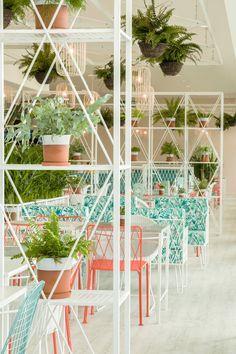 Kiwi Pom Design A Garden Themed Restaurant Restaurant Design Restaurant Interior Bar Design Restaurant