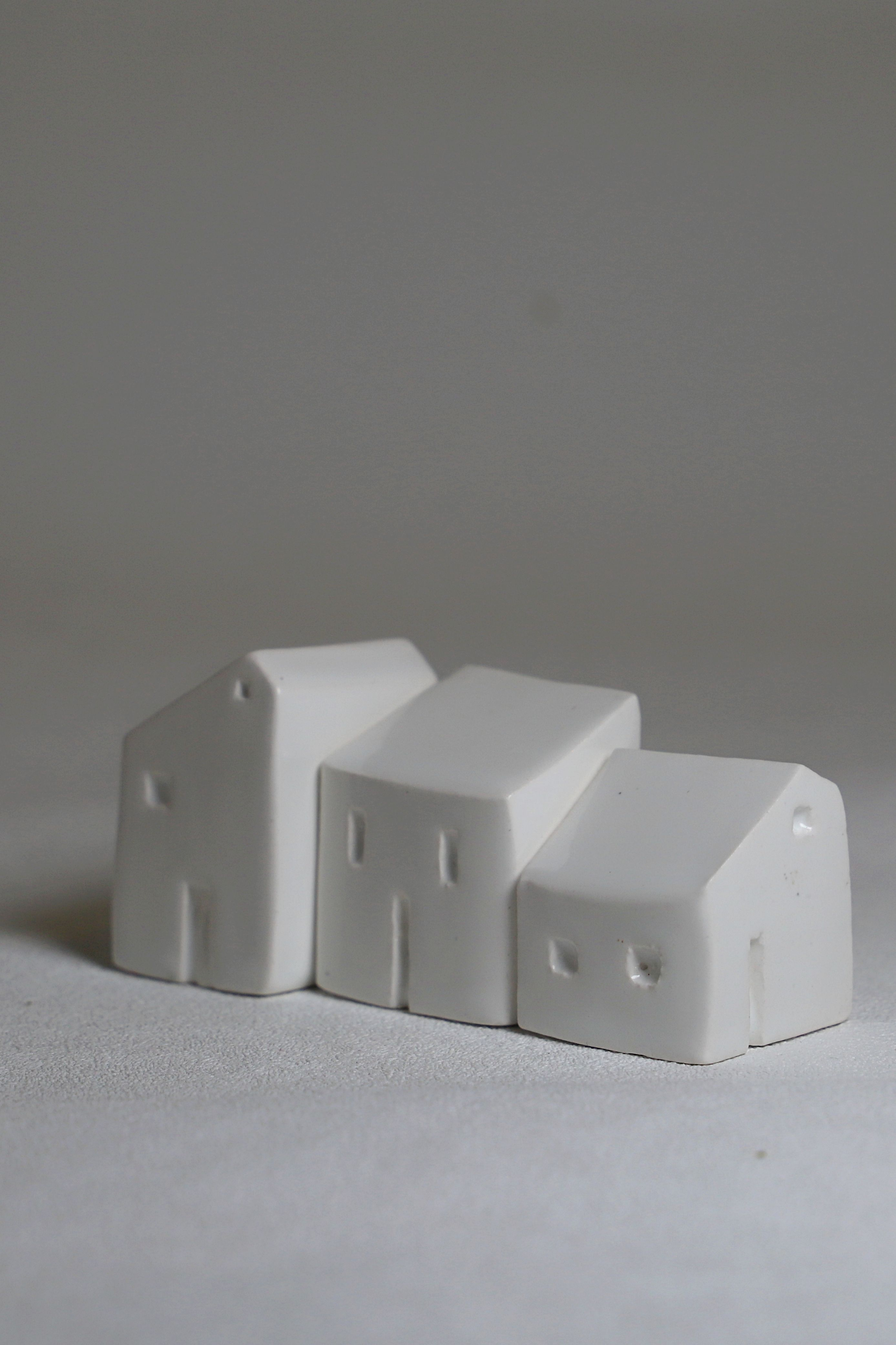Ceramic Houses Set Of 3 Small White Ceramic House Sculptures Made