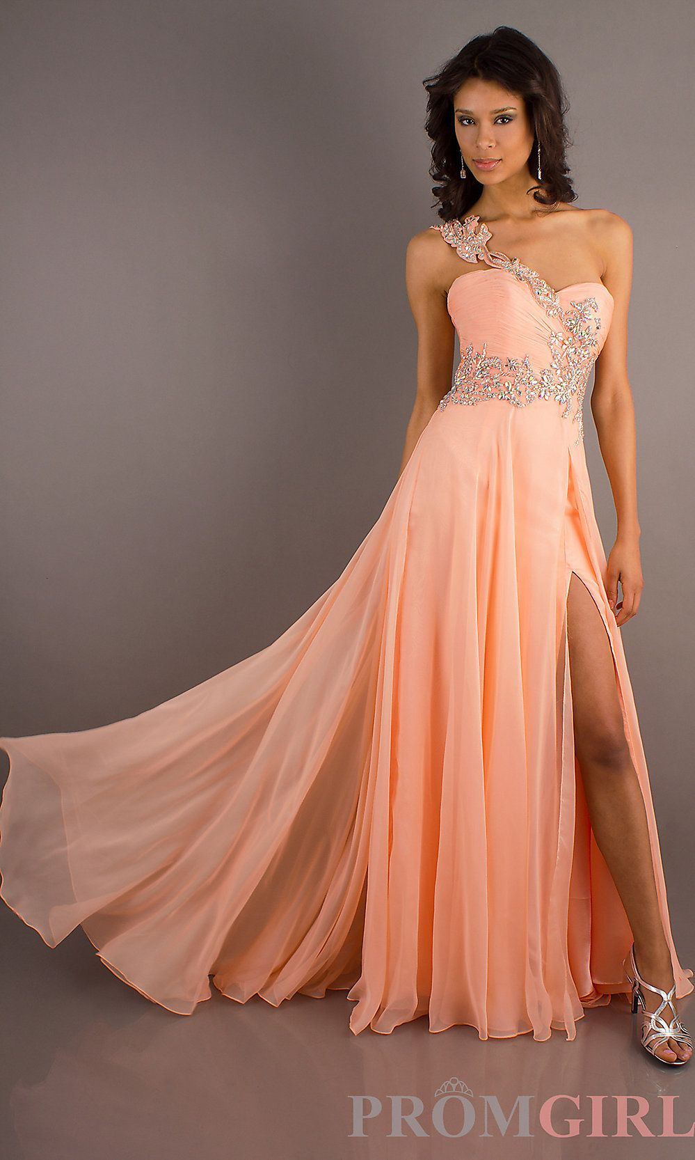 10 Best images about Peach &amp Coral Wedding Bridal Evening Gowns on ...