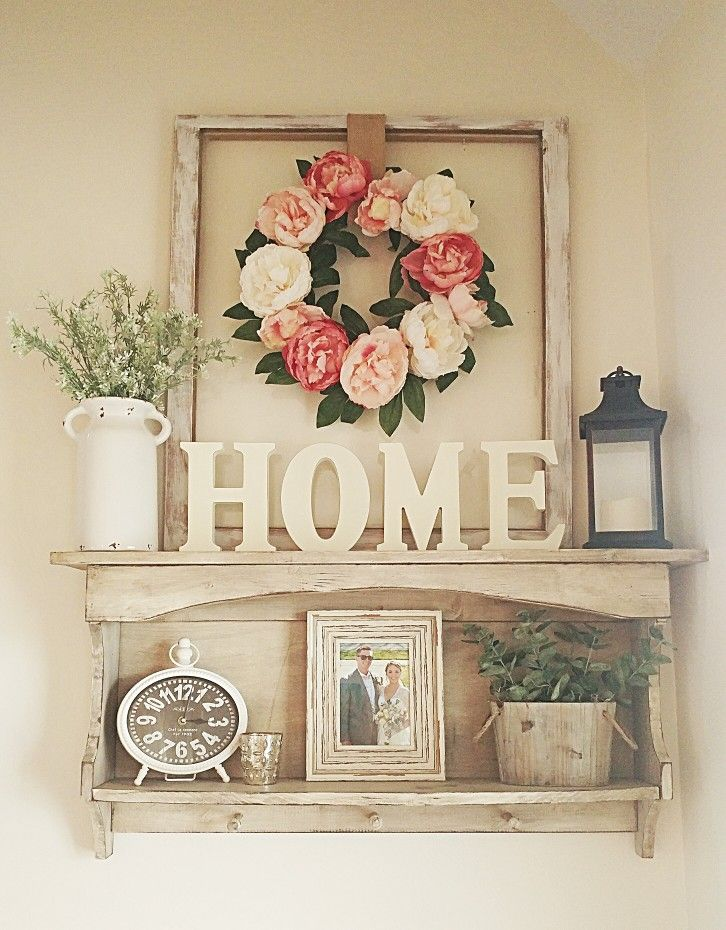 Shelves White Walls And Entry Ways: Small Entryway Shelf Decor Country White Spring Flowers Farm House Decor Home Ideas