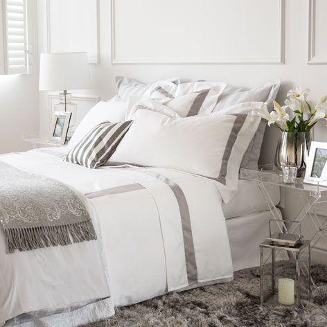 Bettwäsche aus satin mit farblich abgesetztem band Bettwaesche - tipps schlafzimmer bettwaesche