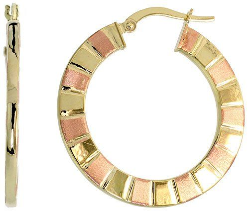 9ct Two Tone Rose And Yellow Gold Snap Post Italian Hoop Earrings Stripe Pattern 1 3 16 30mm Gabriella