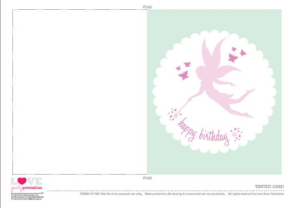 17 Best images about fairy printable – Free Birthday Card Printable Templates