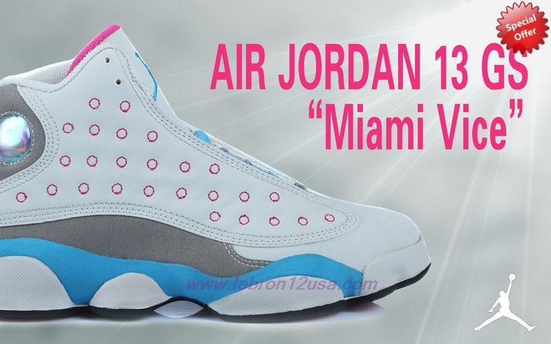 62768d2c1aa0e2 Authentic AIR JORDAN 13 RETRO White Grey Blue Pink Miami Vice