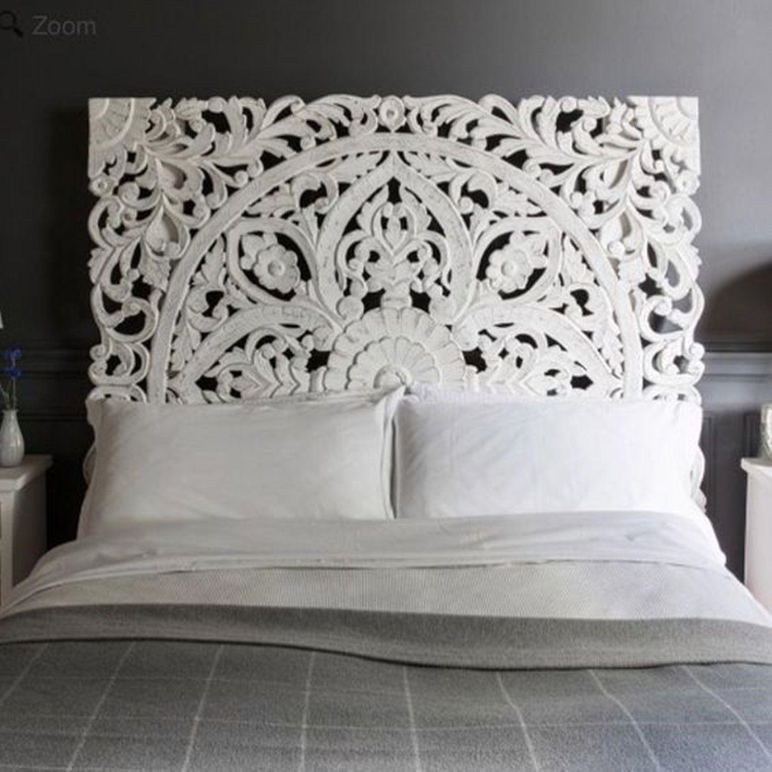 """72"""" Wall Art King Size Bed Reclaimed Bohemian Headboard"""