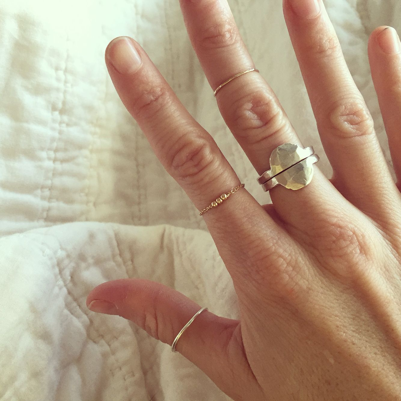Two Half Moon Rings In Sterling Silver(middle Finger). One Sterling Silver  Thumb
