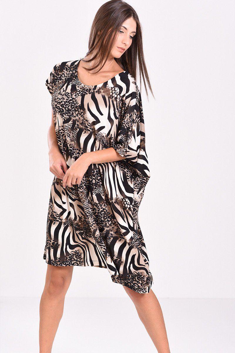 c07858f50798 Κοντομάνικο φόρεμα εμπριμέ (μπεζ-μαύρο) σε άνετη γραμμή
