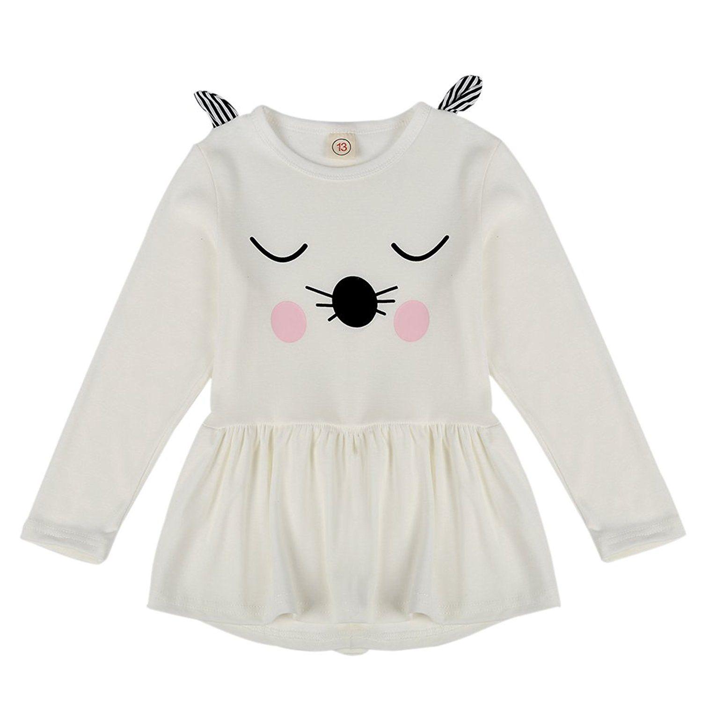 8c632bf828d3 Amazon.com  BOBORA Kids Baby Girls Long Sleeve Cartoon Cat Princess ...