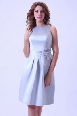 Wholesale - Sheath/Column Bateau Satin Knee-length Lavender Sashes / Ribbons Cocktail Dress