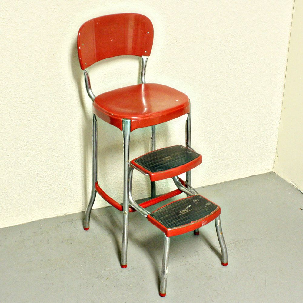 Vintage Stool Step Stool Kitchen Stool Cosco Chair Pull Out Steps Red Metal Chrome Vintage Stool Kitchen Step Stool Kitchen Stools