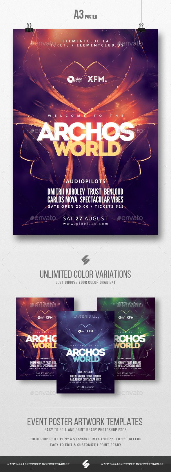 Archos World Trance Party Flyer / Poster Template A3 — Photoshop PSD ...