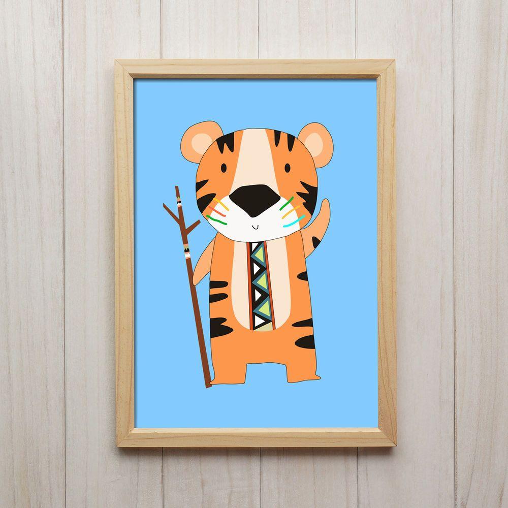 Kunstdruck DIN A4 Tiger Stammeskrieger Dschungel hellblau Druck Wand Deko Bild