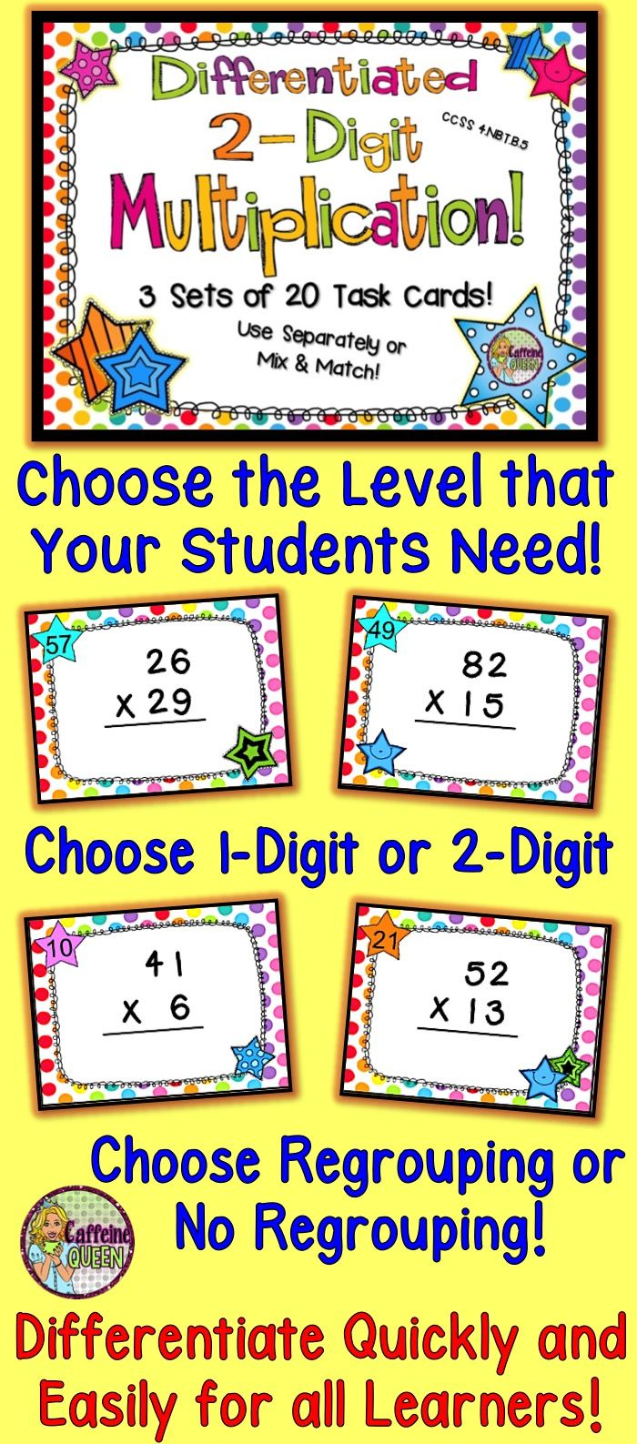Individualize for your students quickly and easily! HUGE 60 Task Card Set!