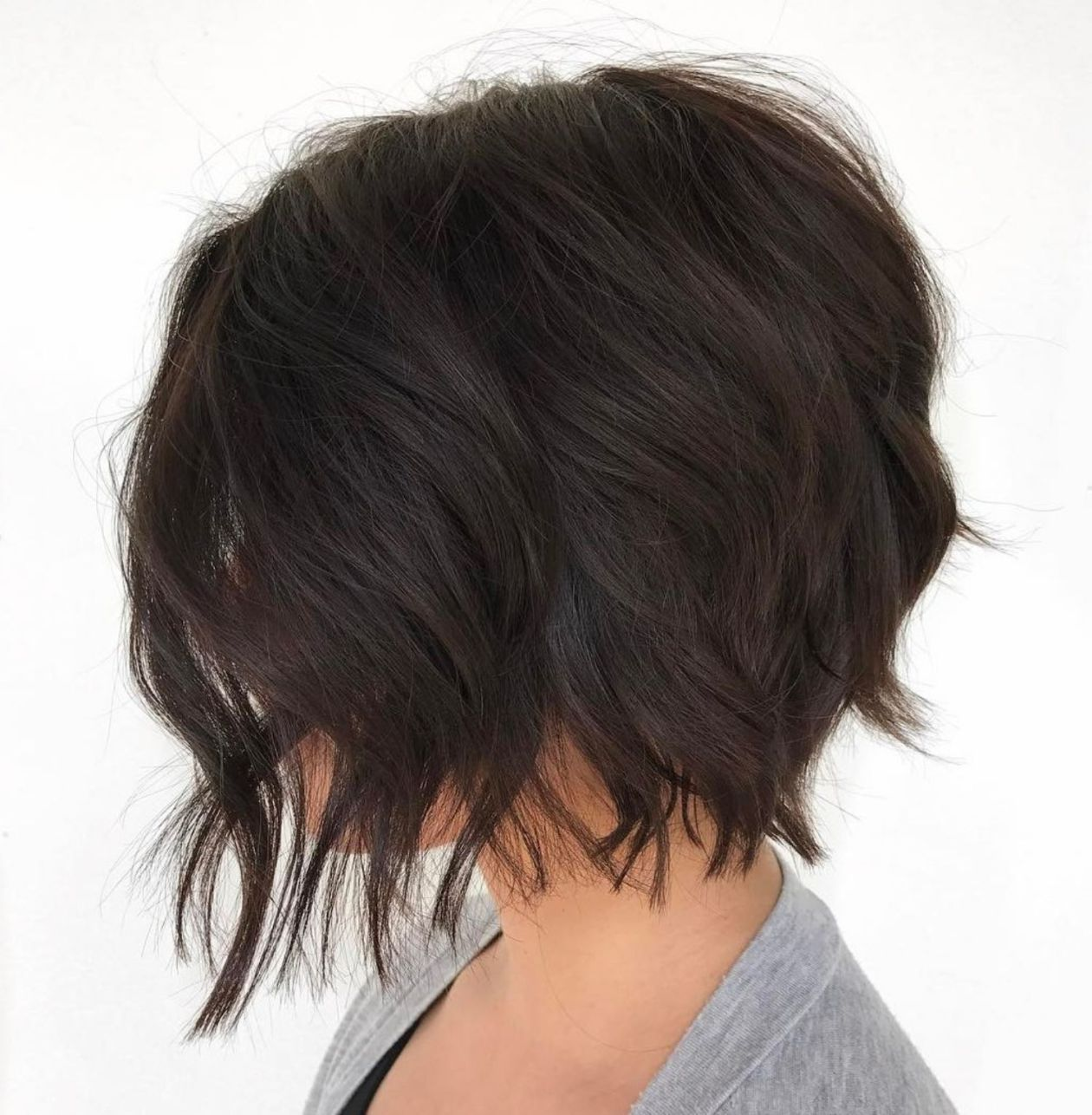 Choppy Brunette Bob Shag Frisuren Frisuren Frisuren Haarschnitte