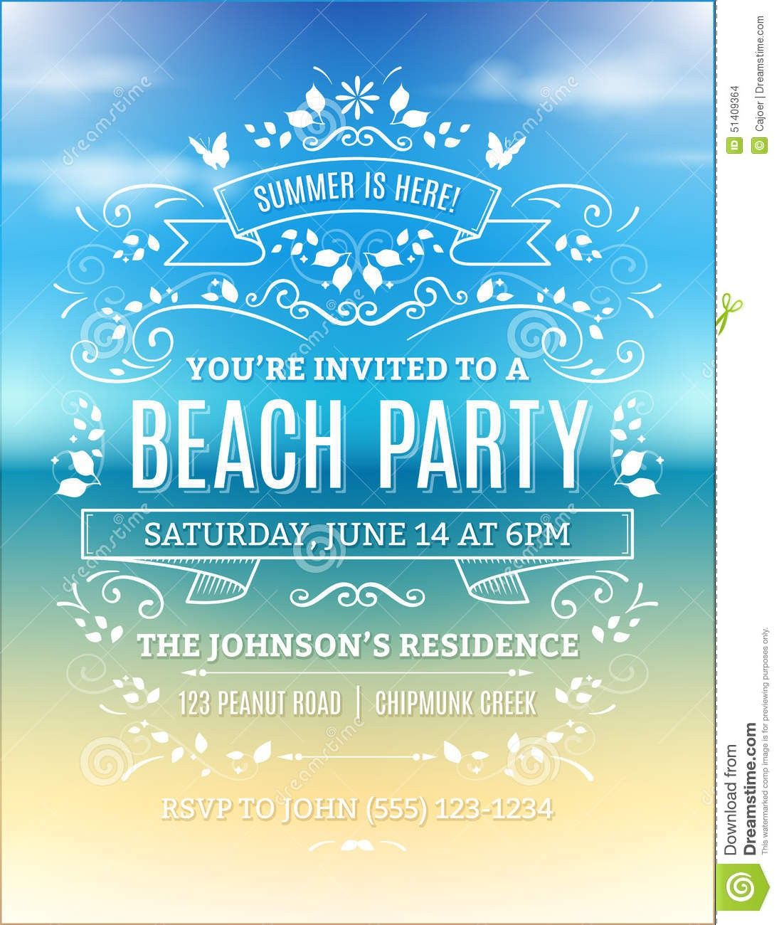 free printable beach party invitations | jj backbaydunes birthday, Party invitations