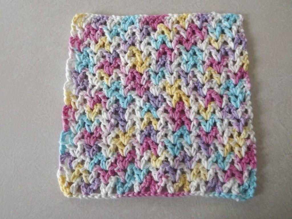 V Stitch Dishcloth ~ Barb\'s Free Crochet Patterns … | Pinterest