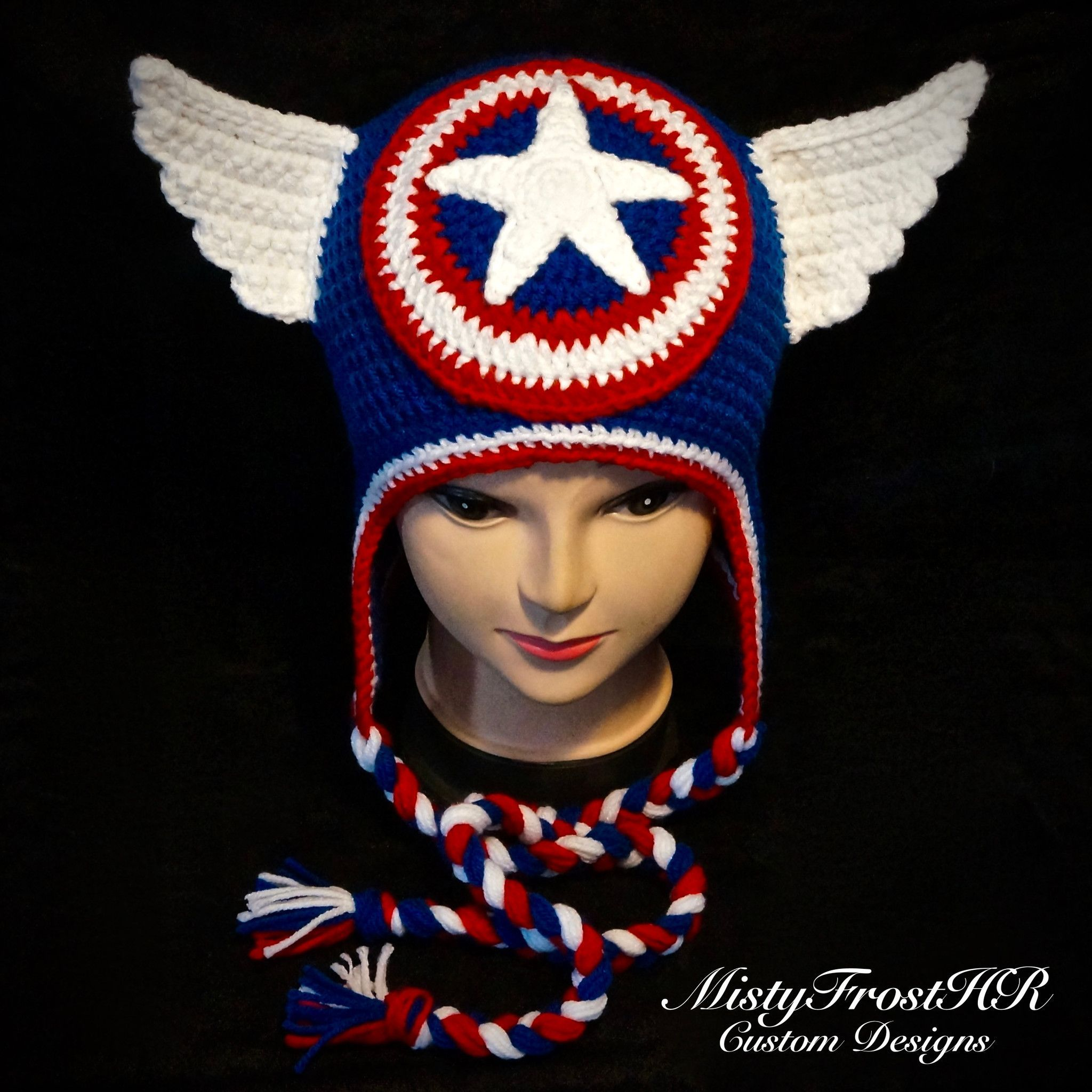 Crochet super hero hats capt america hero and characters