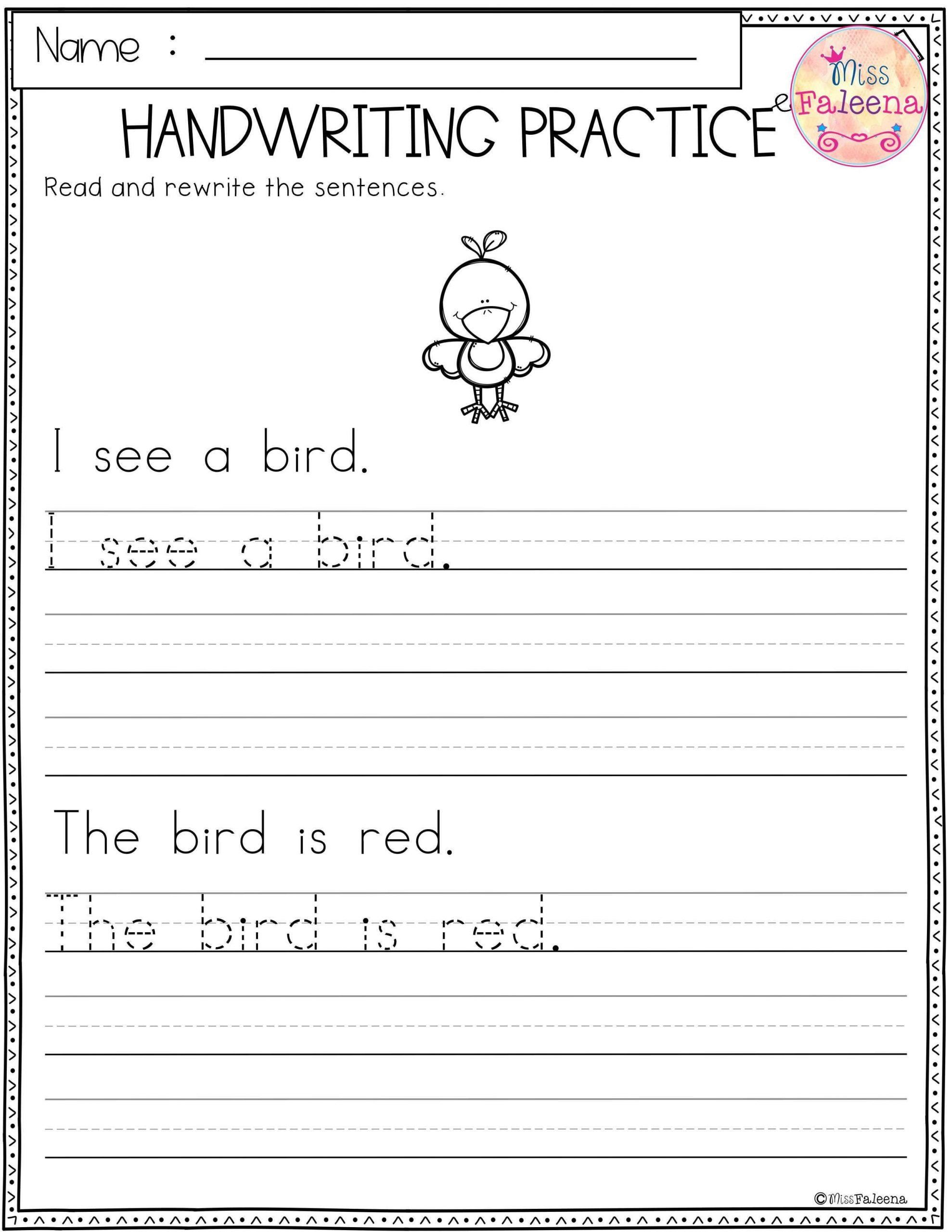 Kindergarten Sentence Writing Practice Worksheets Year 1
