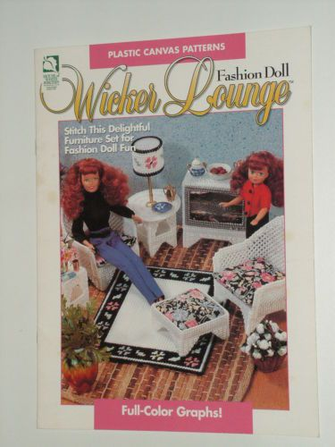 PLASTIC CANVAS FASHION DOLL WICKER LOUNGE Patterns-Furniture-Chair-Tables-Barbie