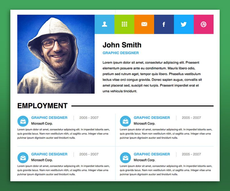 personal resume website examples