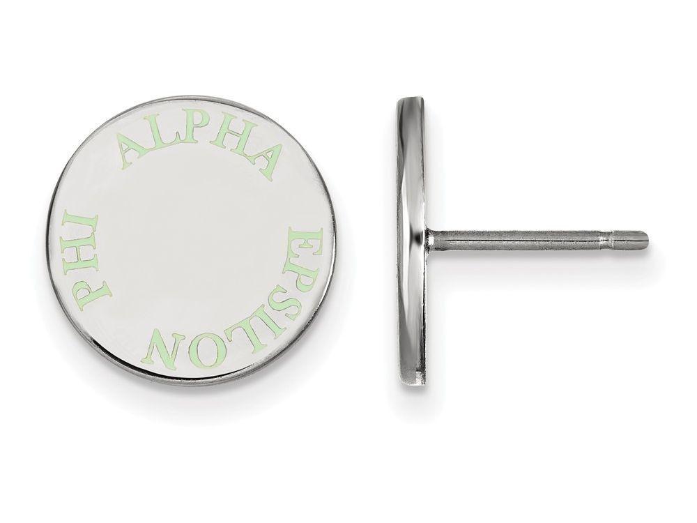 LogoArt Sterling Silver Alpha Epsilon Phi Enameled Post Earrings