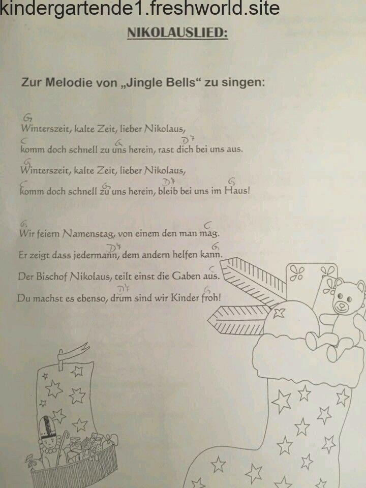 Nikolauslied Nikolaus Lieder Vorschullieder Kindergarten Vorbereitung