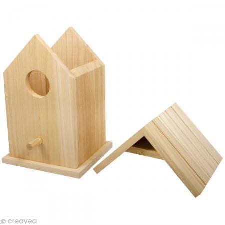 Caja casita pájaros de madera para decorar 17 cm - Fotografía n°3