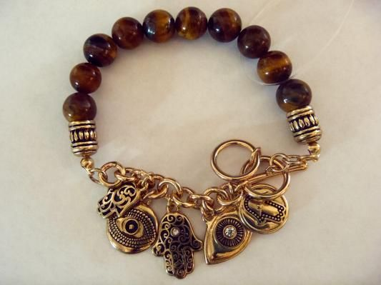 Tiger Eye Evil Eye Gold Crystal Hamsa Hand of Fatima Bracelet Free Shipping