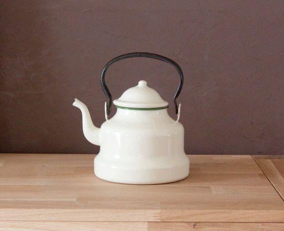 Mid century off white enamel kettle - French vintage Coffee pot or ...