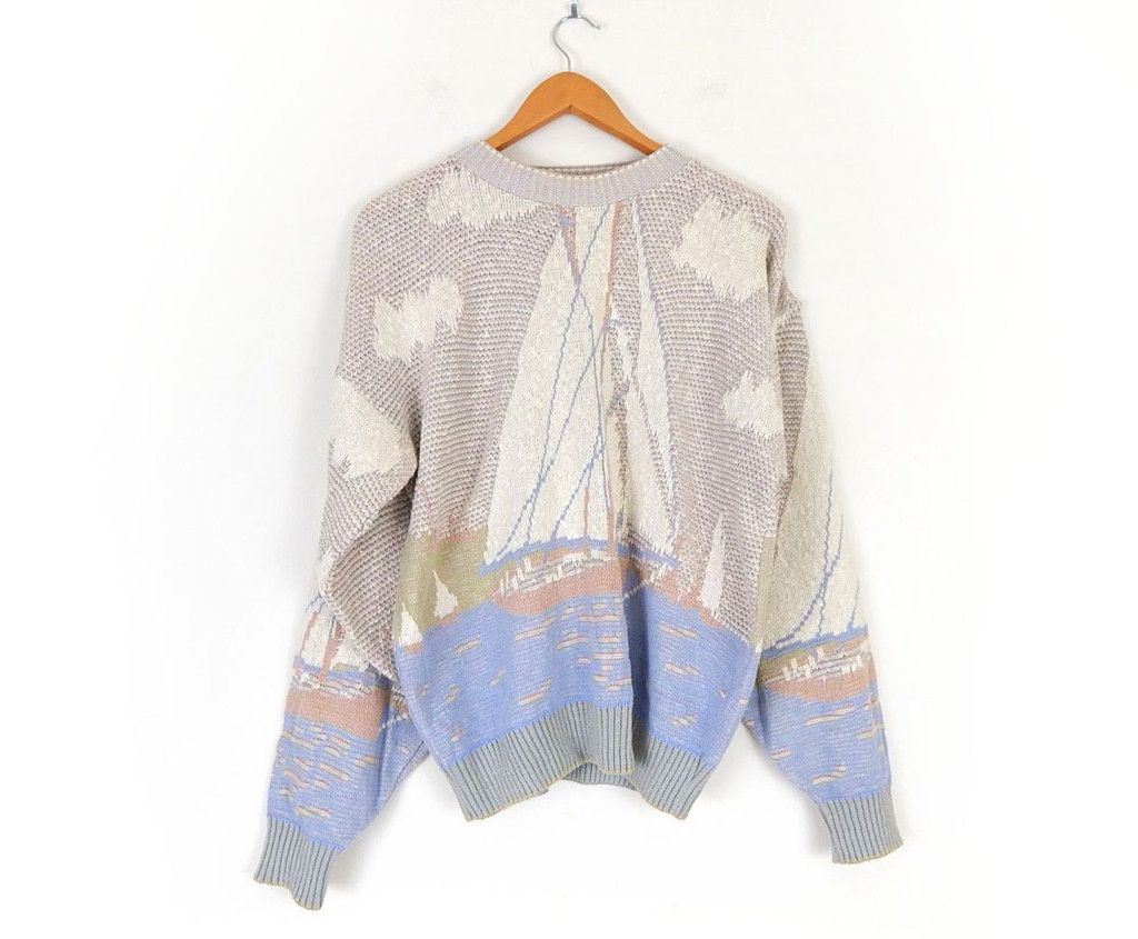 Vintage 80s Oversized Sailboat Sweater - Size Medium (Men) - Baggy ...