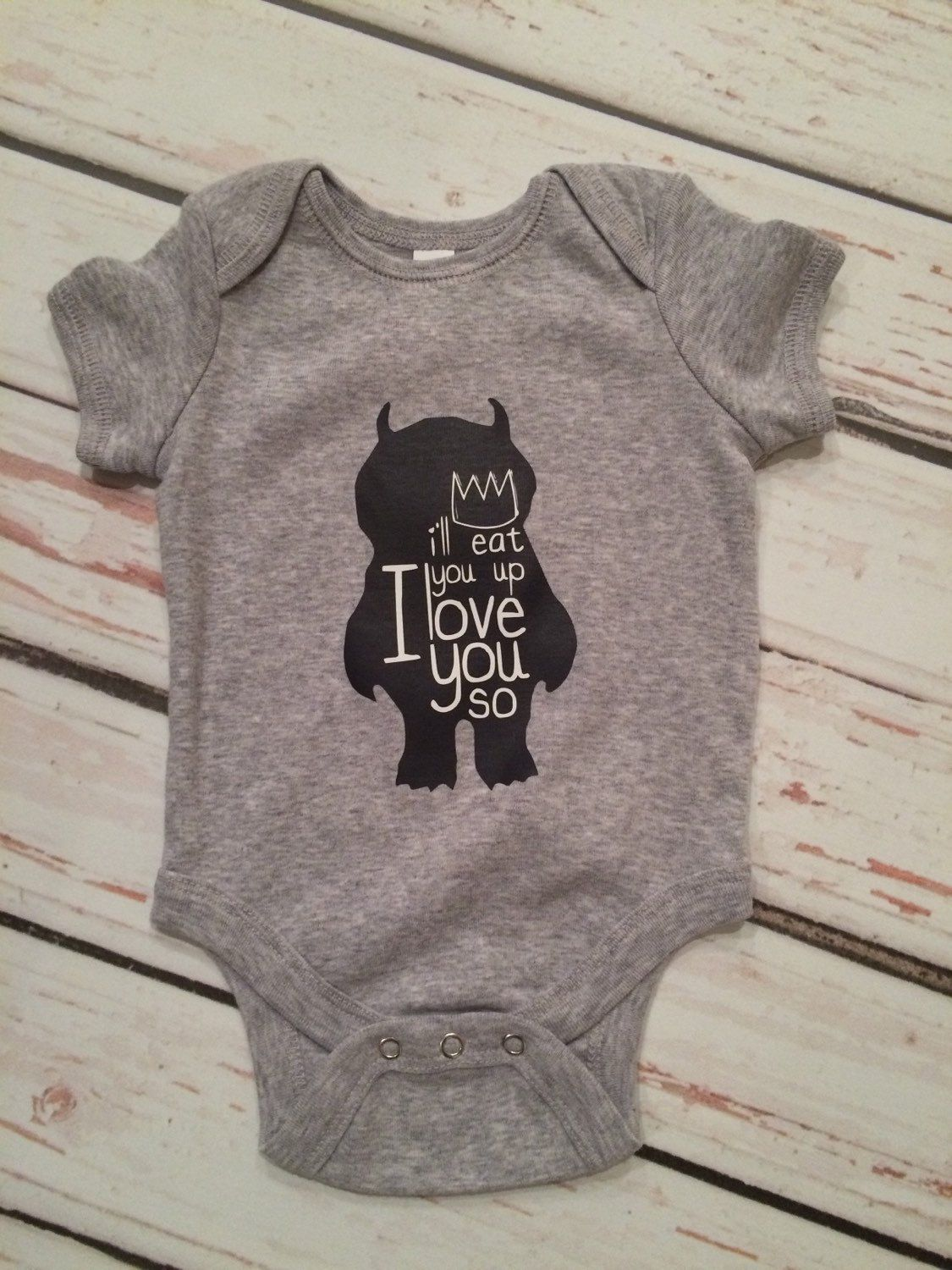 Where the wild things are bodysuit, baby boy clothes, baby girl clothes, I'll eat you up I love you so, monster baby bodysuit by Twelve20Designs on Etsy https://www.etsy.com/listing/231250031/where-the-wild-things-are-bodysuit-baby