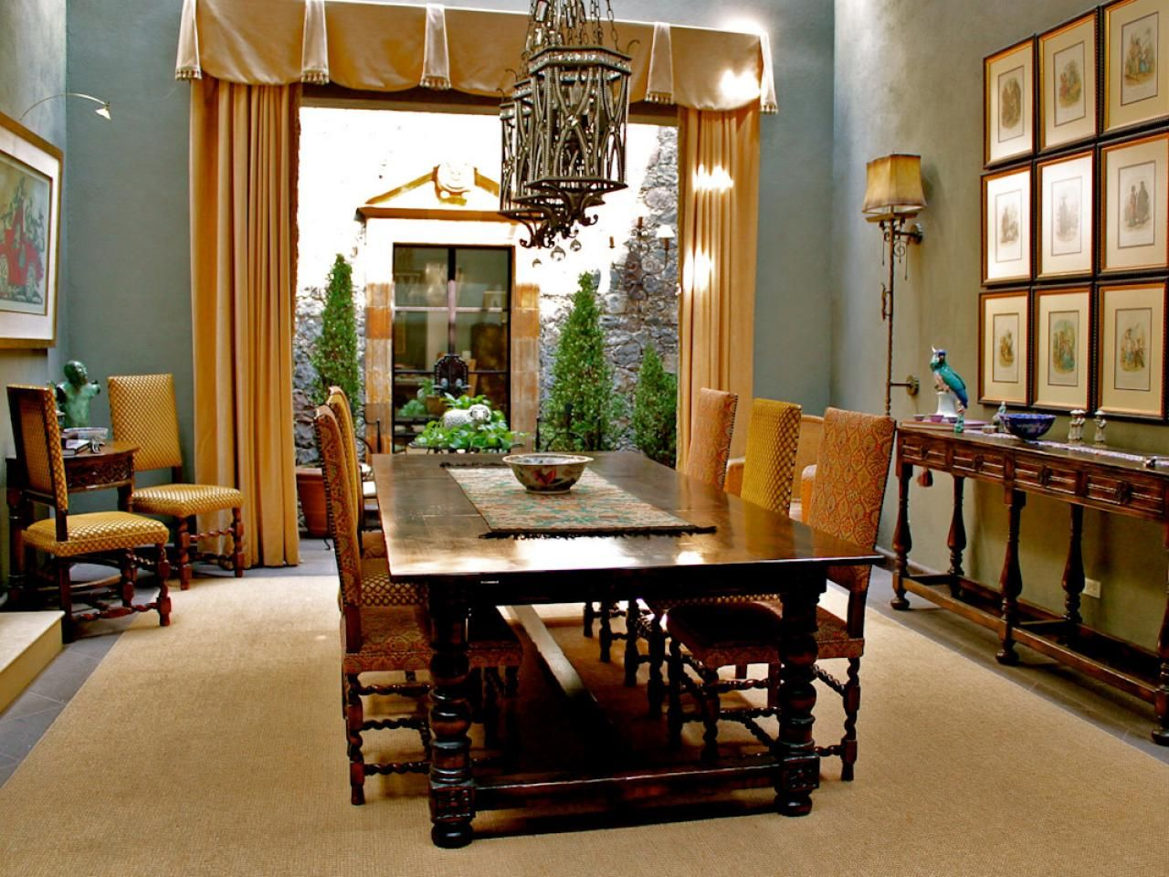 The Spanishstyle Handcarved Furniture Complements The Honey Interesting Spanish Dining Room Table Inspiration